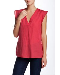 Joe Fresh | Red Flutter Linen Blouse | Lyst