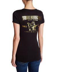 True Religion - Black Foil Logo V-neck Tee - Lyst