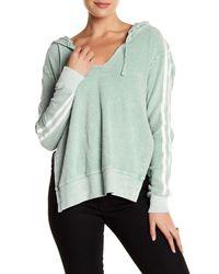Pam & Gela | Green V-neck Split Side Hoodie | Lyst
