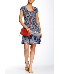 Angie - Blue Short Sleeve Printed Dress - Lyst