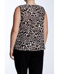 Calvin Klein - Black Animal Print Woven Shell (plus Size) - Lyst