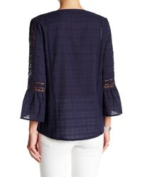 Sanctuary - Blue Elora Split Neck Blouse - Lyst