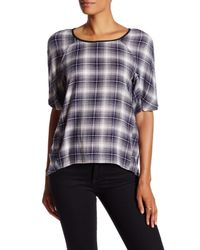 BCBGeneration - Gray Short Sleeve Plaid Blouse - Lyst