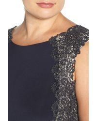 Xscape - Blue Lace Sides Jersey Gown (plus Size) - Lyst
