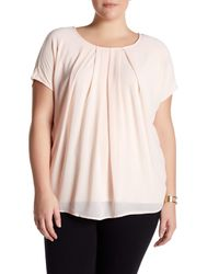 Bobeau | Pink Short Sleeve Pleated Blouse (plus Size) | Lyst