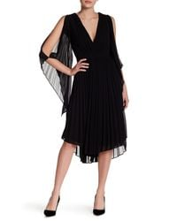 Do+Be Collection | Black V-neck Pleated Midi Dress | Lyst