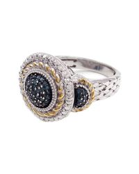 Savvy Cie Jewels Multicolor Two-tone Blue Diamond Detail Woven Empire Ring - 0.20 Ctw