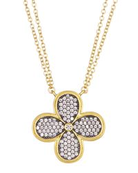 Freida Rothman | Metallic 14k Gold Plated Sterling Silver Cz Pave Clover Pendant Necklace | Lyst
