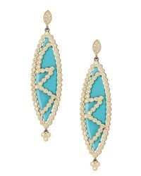 Freida Rothman | Multicolor 14k Gold Plated Sterling Silver Cz & Turquoise Marquise Earrings | Lyst