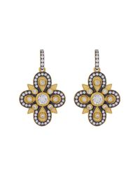 Freida Rothman | Metallic 14k Gold Plated Sterling Silver Cz Embellished Clover Drop Earrings | Lyst