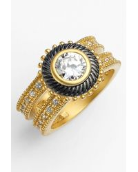 Freida Rothman | Metallic Two-tone Hamptons Nautical Rope Cz Solitaire Ring | Lyst