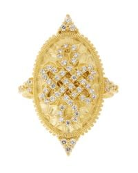 Freida Rothman - Metallic 14k Gold Plated Sterling Silver Cz Knot Ring - Size 9 - Lyst