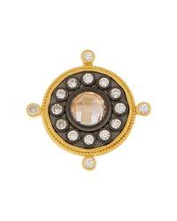 Freida Rothman - Metallic 14k Gold & Rhodium Plated Sterling Silver Floral Cz Compass Ring - Lyst