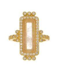 Freida Rothman - Metallic 14k Gold Plated Sterling Silver Cz & Rose Quartz Bar Ring - Size 5 - Lyst