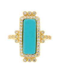 Freida Rothman - Metallic 14k Gold Plated Sterling Silver Cz Turquoise Bar Ring - Size 9 - Lyst
