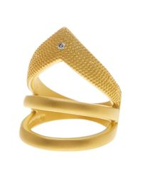 Freida Rothman - Metallic 14k Gold Plated Sterling Silver Single Cz Arrow Ring - Size 8 - Lyst