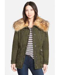 Guess - Green Faux Fur Collar Anorak Coat - Lyst