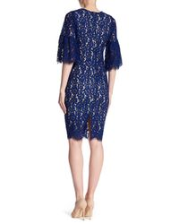 Alexia Admor - Blue V-neck Elbow Sleeve Lace Dress - Lyst