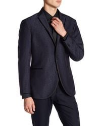 Kenneth Cole - Blue Pattern Shiny Evening Two Button Notch Lapel Trim Fit Sportcoat for Men - Lyst