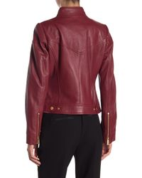 MICHAEL Michael Kors - Red Zip Front Scuba Leather Jacket - Lyst