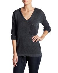 Democracy - Multicolor V-neck Knit Hooded Sweater - Lyst