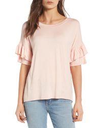 Chelsea28 - Pink Ruffle Sleeve Tee - Lyst
