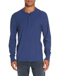 James Perse | Blue Classic High Twist Jersey Henley for Men | Lyst