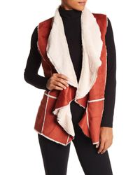 Angie - Red Faux Suede & Faux Fur Lined Vest - Lyst