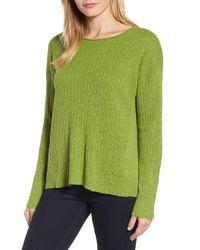 Eileen Fisher - Green Organic Linen Blend & Cotton Crew Neck Sweater - Lyst