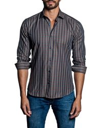 Jared Lang - Blue Gingham Woven Trim Fit Shirt for Men - Lyst