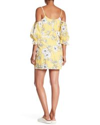 Lush - Yellow Puff Sleeve Cold Shoulder Dress - Lyst