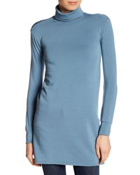 Go Couture - Blue Turtleneck Long Sleeves With Banded Cuffs - Lyst