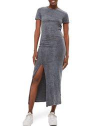 TOPSHOP - Gray Lattice Back Jersey Maxi Dress - Lyst