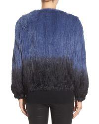La Fiorentina - Blue Genuine Rabbit Fur Ombre Jacket - Lyst