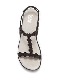 Jambu Black Cybill Leather Wedge Sandal