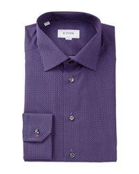 Eton of Sweden - Blue Patterned Slim Fit Dress Shirt for Men - Lyst