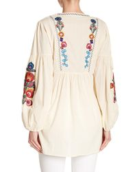 Haute Rogue - Natural Floral Embroidered Tunic - Lyst
