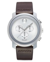 Movado | Metallic Bold Chronograph Leather Strap Watch for Men | Lyst