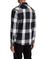 AG Jeans - Blue Plaid Long Sleeve Button Down Shirt for Men - Lyst