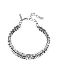 Oscar de la Renta - Metallic Swarovski Crystal Accent Cluster Necklace - Lyst