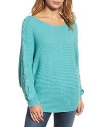 Caslon - Blue Lace-up Sleeve Sweater (regular & Petite) - Lyst