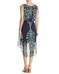 Sandra Darren - Blue Printed Hi-lo Hem Dress - Lyst