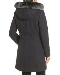 Trina Turk | Gray Connie Duffle Coat With Genuine Fox Fur | Lyst