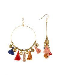 Chan Luu - Multicolor Tassel Bell Hoop Dangle Earrings - Lyst