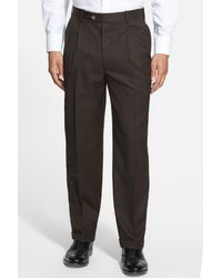 JB Britches - Brown Double Pleated Super 100s Worsted Wool Trousers for Men - Lyst
