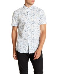 Report Collection - Blue Tropical Print Short Sleeve Slim Fit Shirt for Men - Lyst
