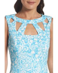 Eliza J - Blue Cutout Sheath Dress - Lyst