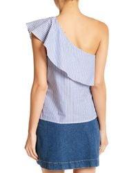 Love, Fire | Blue Challis One Shoulder Shirt | Lyst