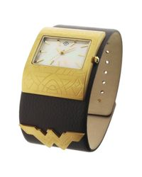 Nanette Lepore - Brown Women's Wonder Woman Mother Of Pearl Leather Cuff Watch - Lyst