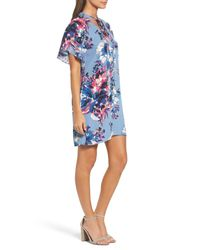 Charles Henry | Blue Tie Neck Shift Dress | Lyst